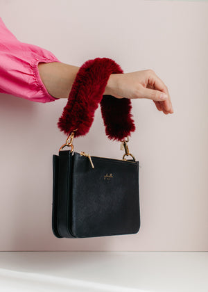 Top-Handle Faux Fur Bag Strap