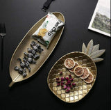 Gold Decorative Pineapple and Leaf Serving Trays