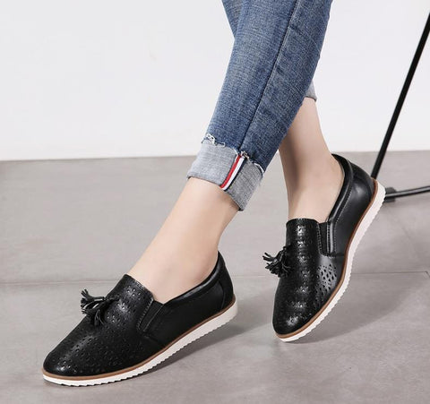 Adalee Genuine Leather Tasseled Loafers
