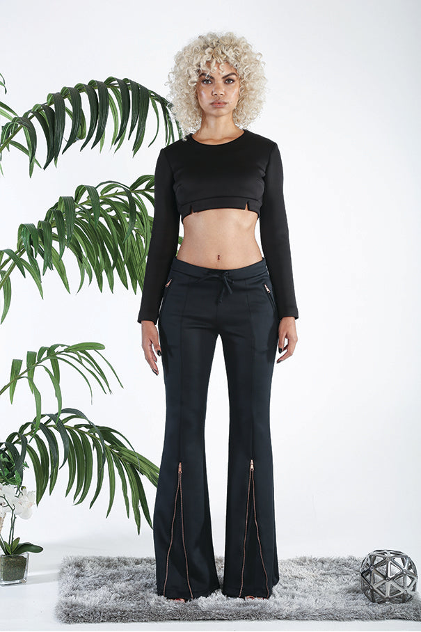 ViSH NYC | Bellbottom Pants - Two bottom zipper Rose Gold Zipper front - Invisible zipper & Hook and eye side clasp - Lead-free zippers
