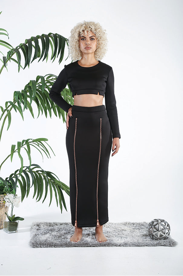 ViSH NYC | Long double slit skirt - 2 Rose gold zippers - 2 inch waist band - Lead-free zippers