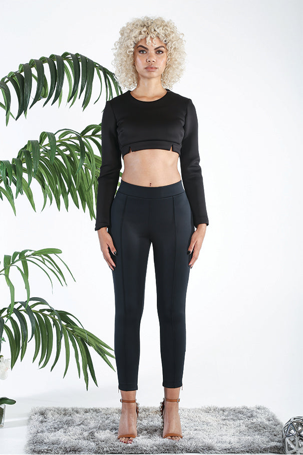 Vish NYC | Long Sleeve Crop Top - Center back Rose Gold Zipper - Pair with Iris Leggings - Lead-free zipper