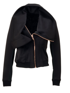 ViSH NYC | A-symmetrical jacket - 2 Rose Gold zipper back to ensure comfy fit - Lead-free zippers