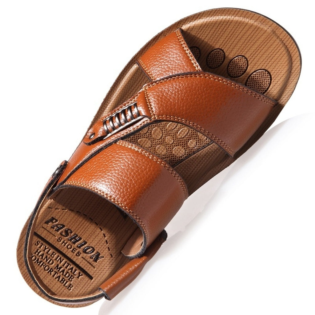 Mens Leisure Breathable Leather Beach Sandals