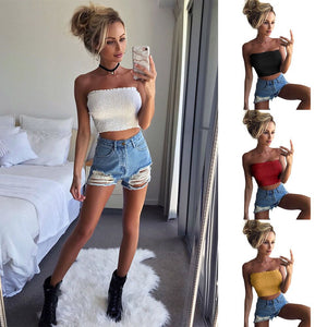 Women Strapless Elastic Tube Top
