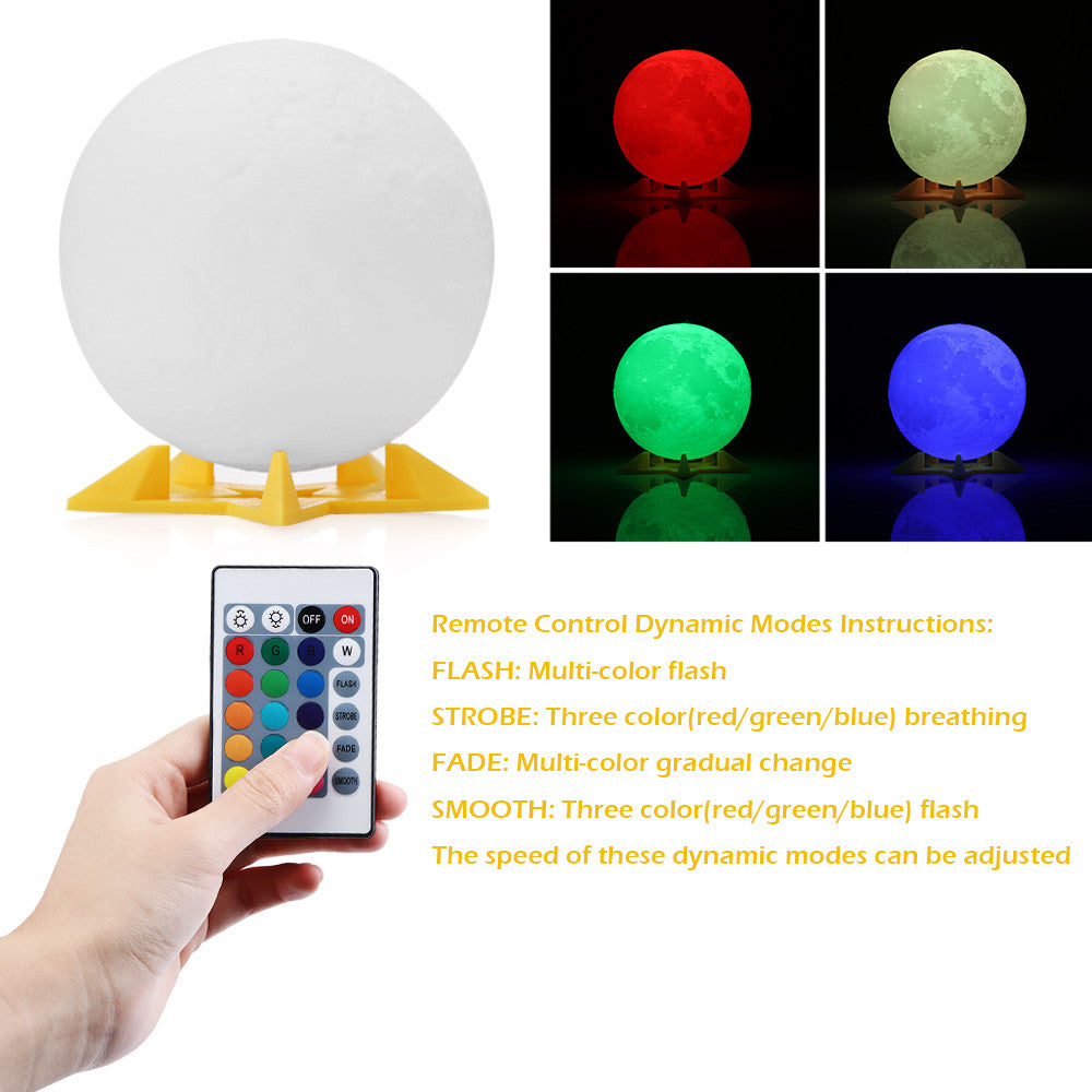 3D  USB Rechargeable Multi-color LED Moon Light