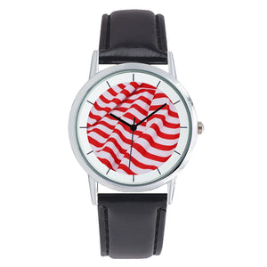 Red & White Stripe Watch