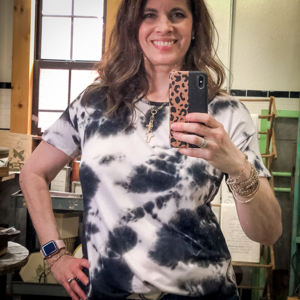 Camdyn Black Tie Dye Top