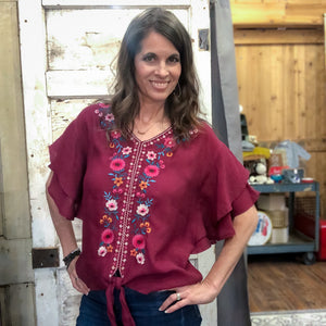 Berry Embroidered Top - Shopbluemoonbentonville