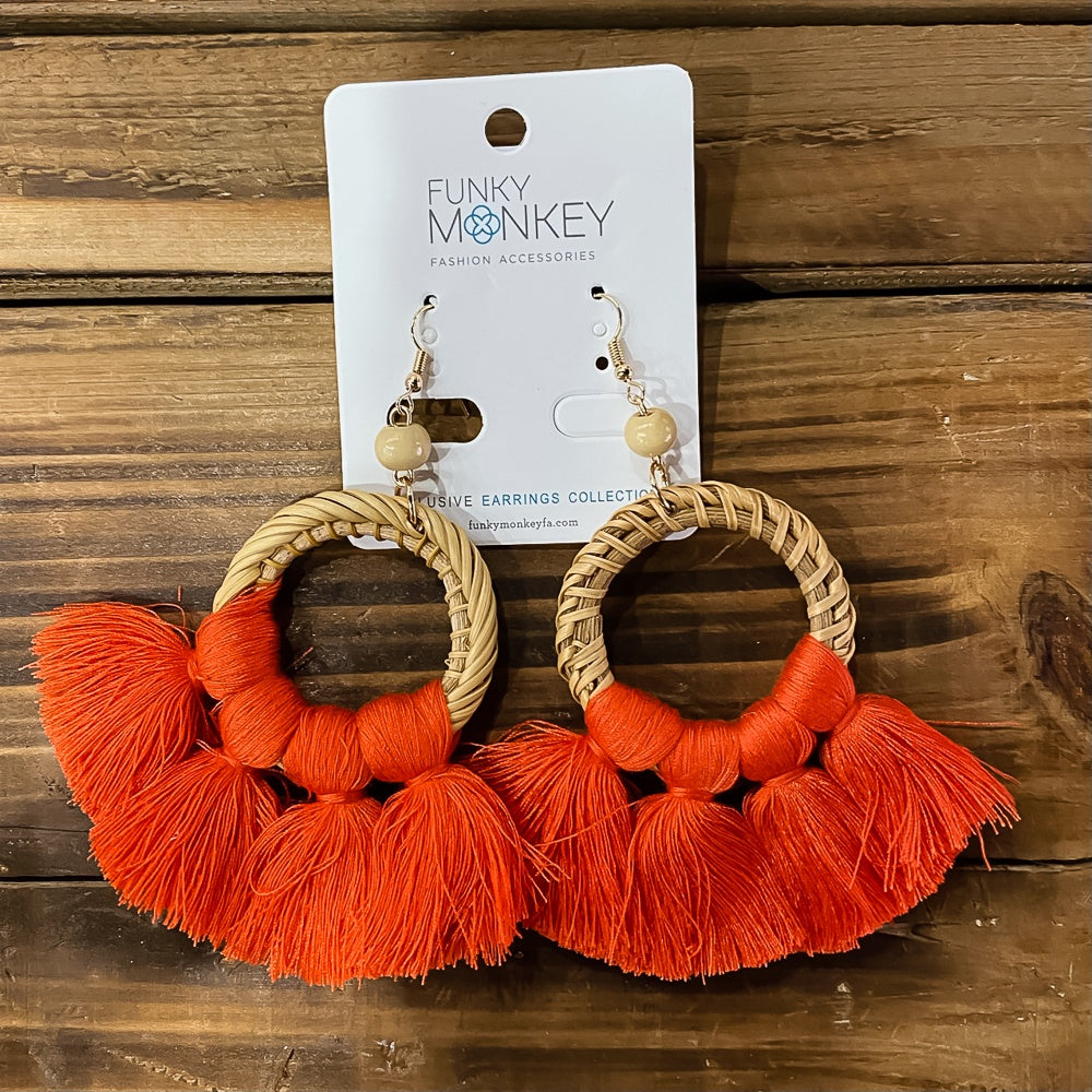 Rattan & Fan Fringe Earrings