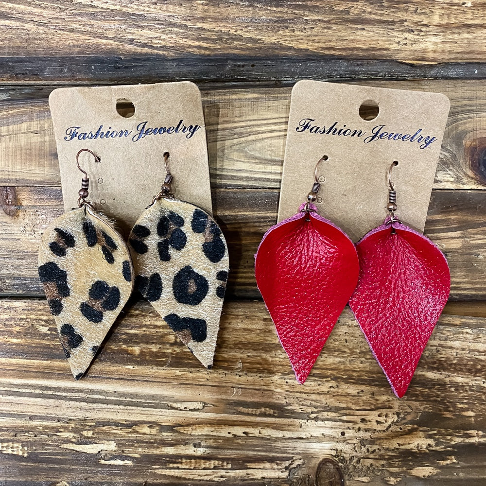 Leather Leaf Earring - Shopbluemoonbentonville