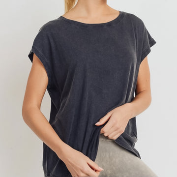 Black Mineral Washed Athleisure Top