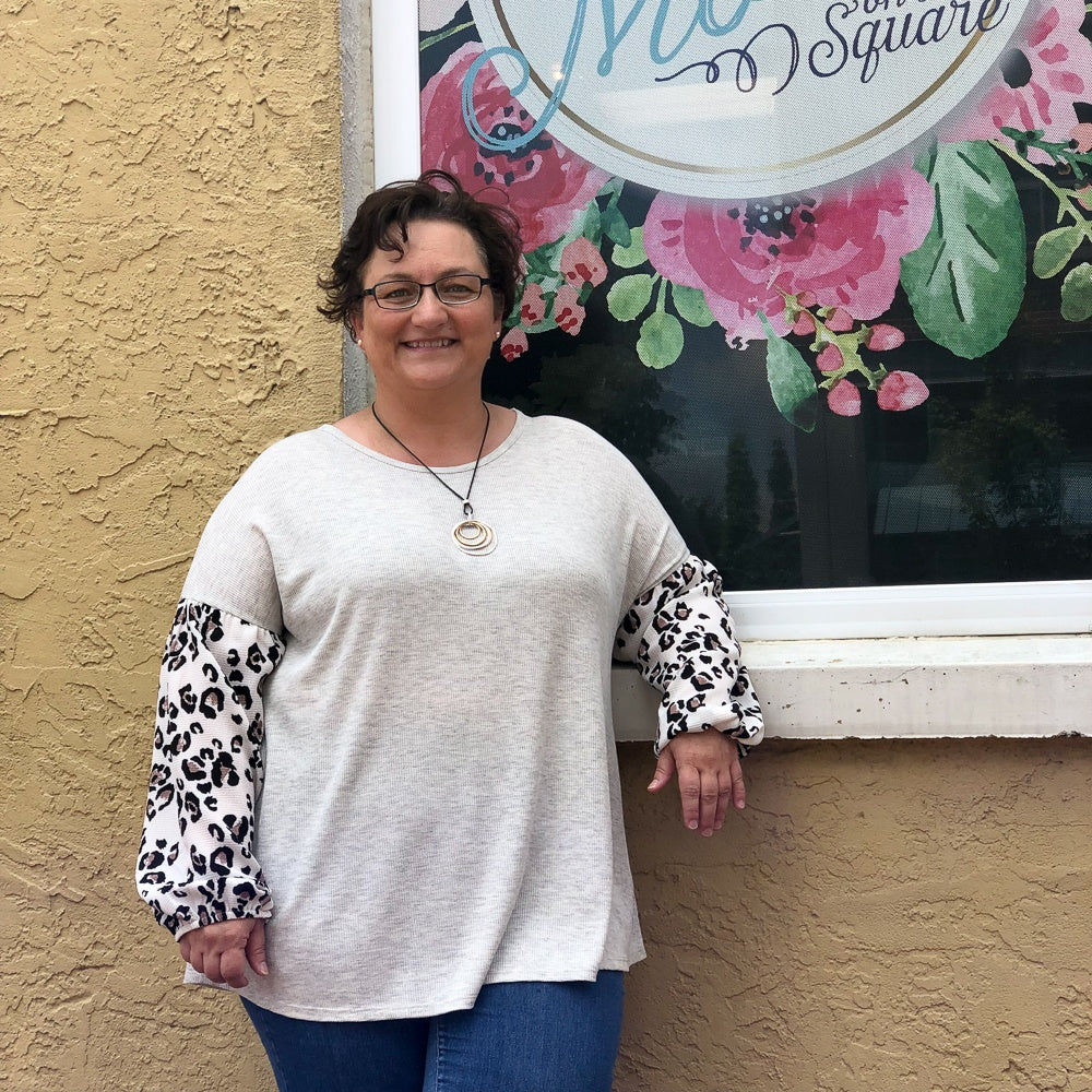 Grey Thermal Top w/Leopard Sleeve - Shopbluemoonbentonville