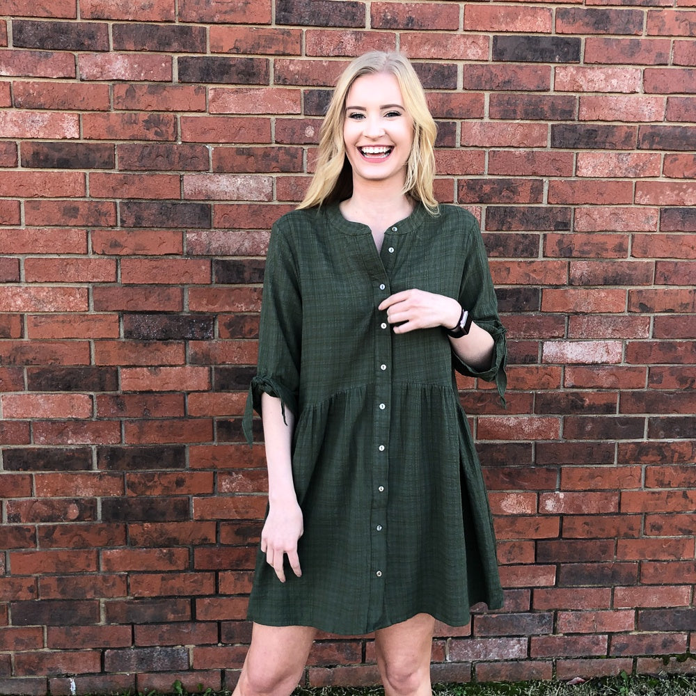 Olive Dress w/Hi-Low Waist - Shopbluemoonbentonville