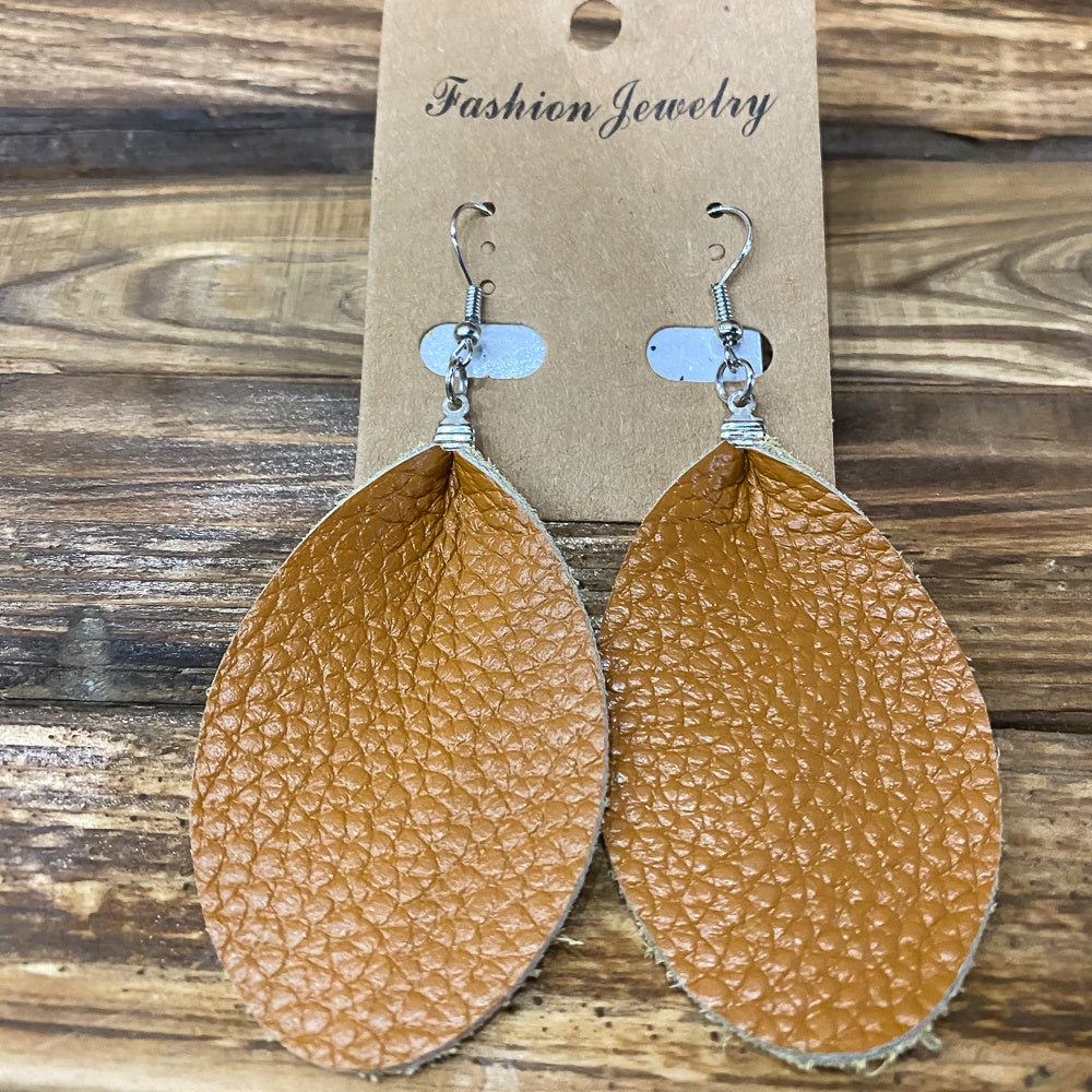 Leather Oval Earrings - Shopbluemoonbentonville