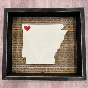Arkansas Wooden Inset Box Sign - Shopbluemoonbentonville