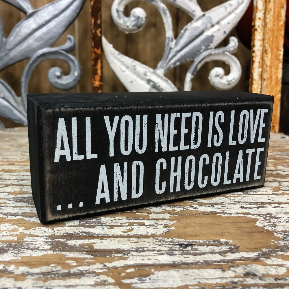 Love and Chocolate 6x2.5 Box Sign - Shopbluemoonbentonville