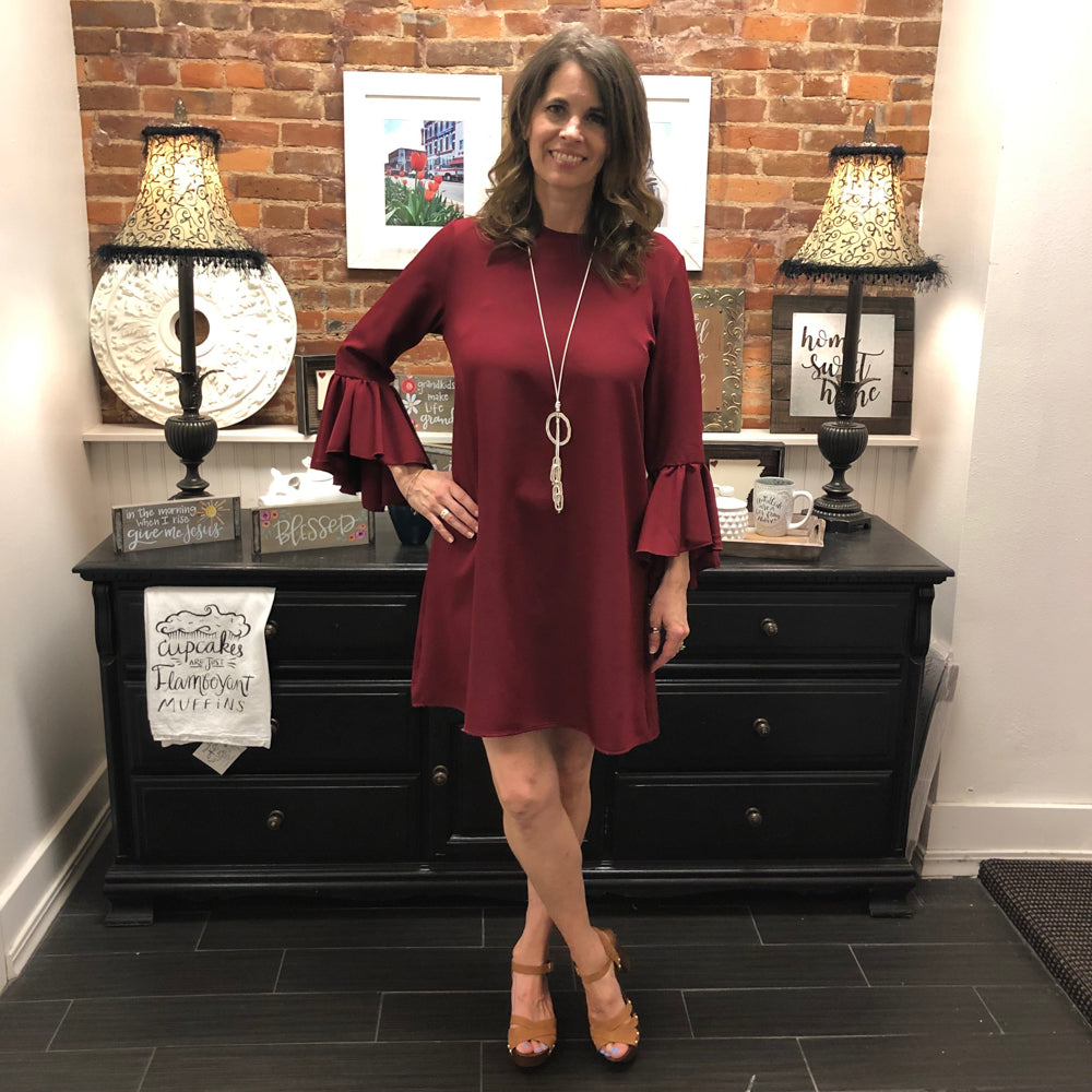 Burgundy Bell Sleeve Dress - Shopbluemoonbentonville