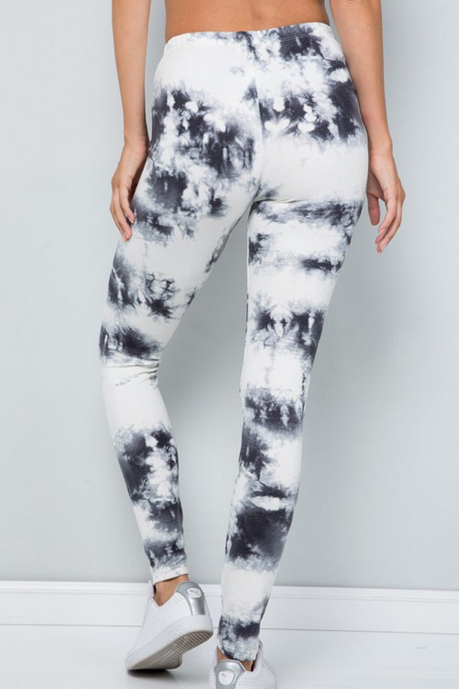 Ivory/Black Tie Dye Leggings