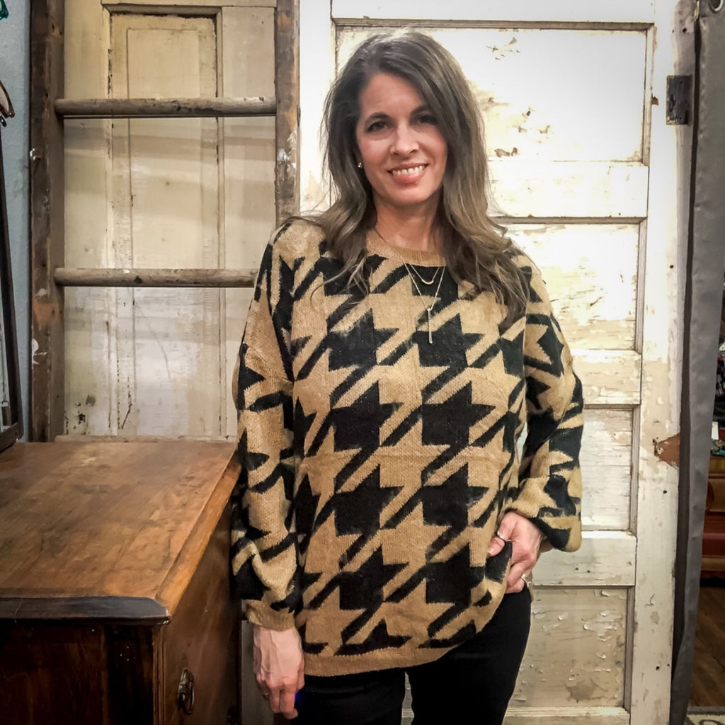 Mocha Houndstooth Sweater