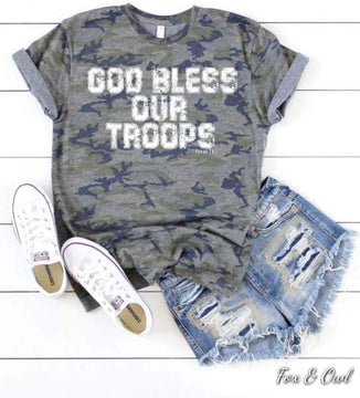 God Bless Our Troops Camo T-shirt