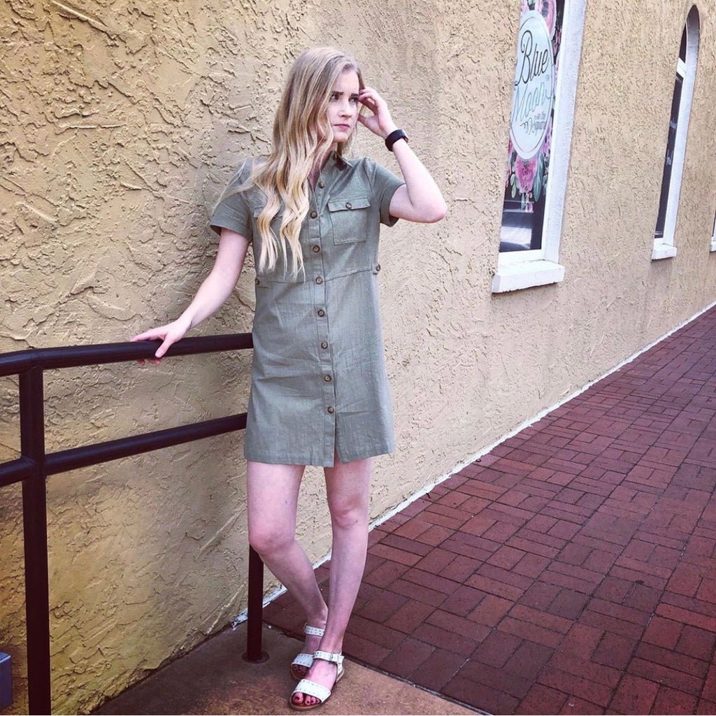 Olive Cargo Dress - Shopbluemoonbentonville