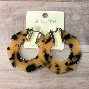 Acetate Octagon Hoop Earrings - Shopbluemoonbentonville