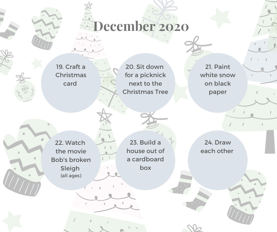 Christmas 'Advent Activies' calender with 31 activities suitable for families with toddlers and preschoolers!