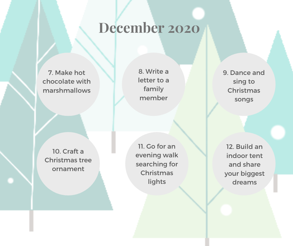 Christmas 'Advent Activies' calender with 31 activities suitable for families with toddlers!