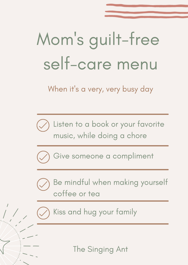 Ideas for moms to prioritize self-care without feeling guilty