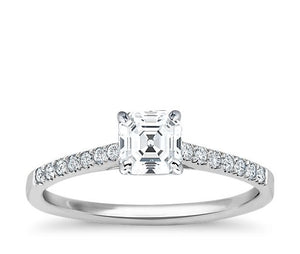 Asscher Cut 4 Claw setting with Bead Set Accent Stones