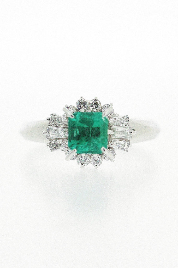0.72ct Emerald and Diamond Ring