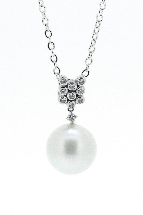 Round South Sea Pearl and Diamond Pendant