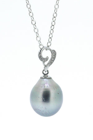 Drop Tahitian Pearl and Diamond Pendant