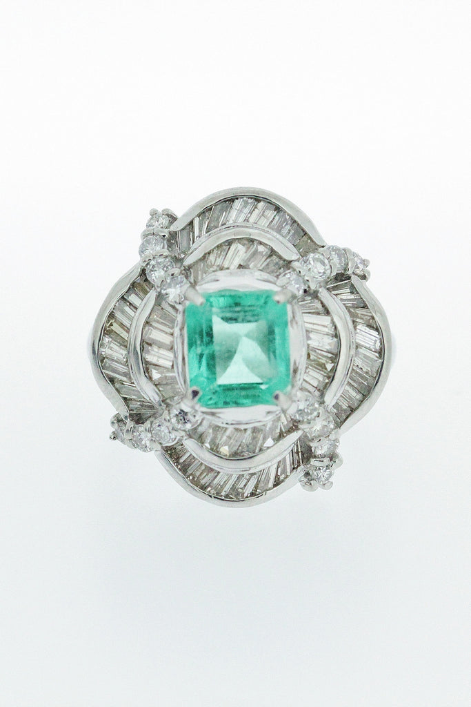 2.14ct Emerald and Diamond Ring