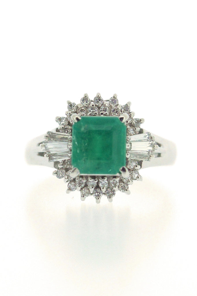 1.22ct Emerald and Diamond Ring