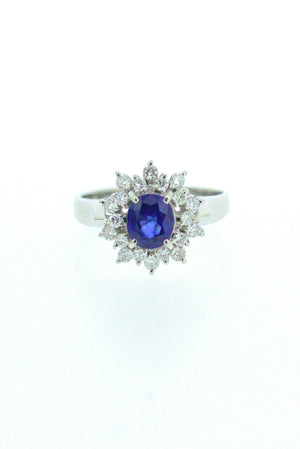 0.83ct Sapphire and Diamond Ring
