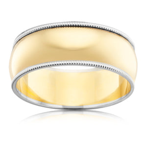 Two Tone Edge Patterned Mens Ring