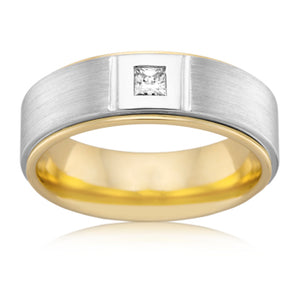Fine Parrallel Grain Diamond Mens Ring
