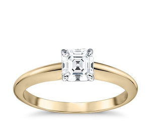 Asscher Cut Solitaire 4 Claw Setting with Semi Knife Edge Band