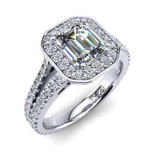 'Flora' Emerald Cut Engagement Ring