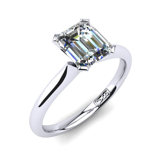 'Delta' Emerald Cut Engagement Ring