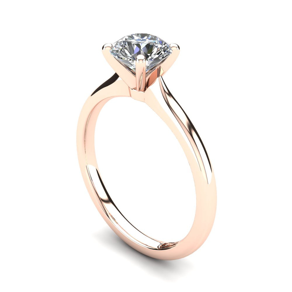 18kt Rose Gold, Solitaire Setting with Rounded Band