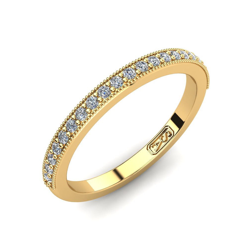 Grain Set Diamond Wedding Band