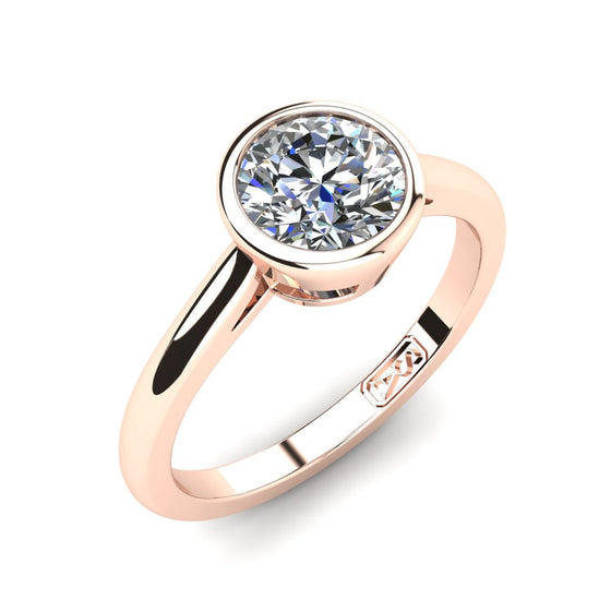 18kt Rose Gold, Bezel Solitaire Setting with Half Round Band