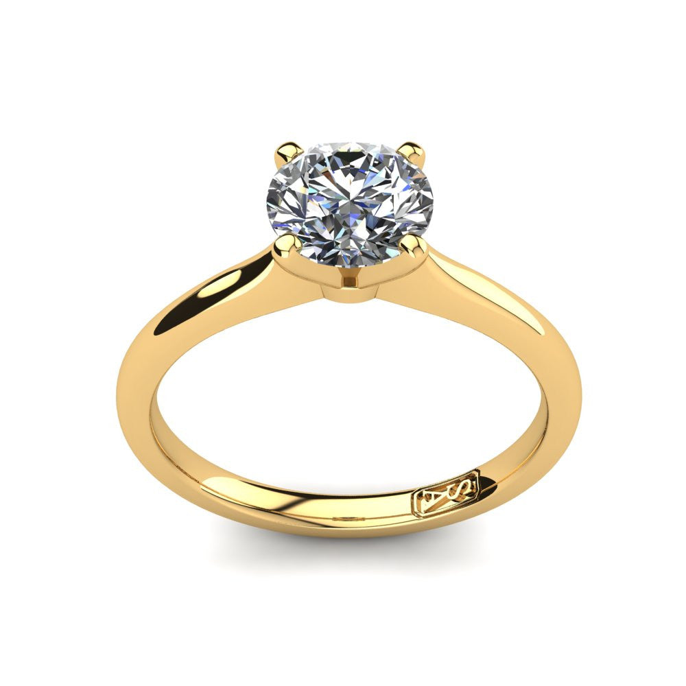 18kt Yellow Gold, Solitaire Setting with Rounded Band