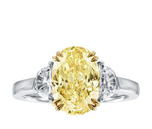 Oval Cut Fancy Yellow Diamond Ring
