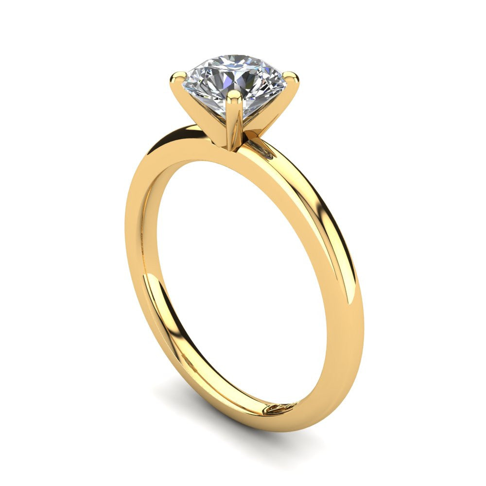 18kt Yellow Gold, Solitaire Setting with Half Round Band