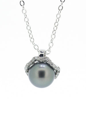Round Tahitian Pearl and Diamond Pendant