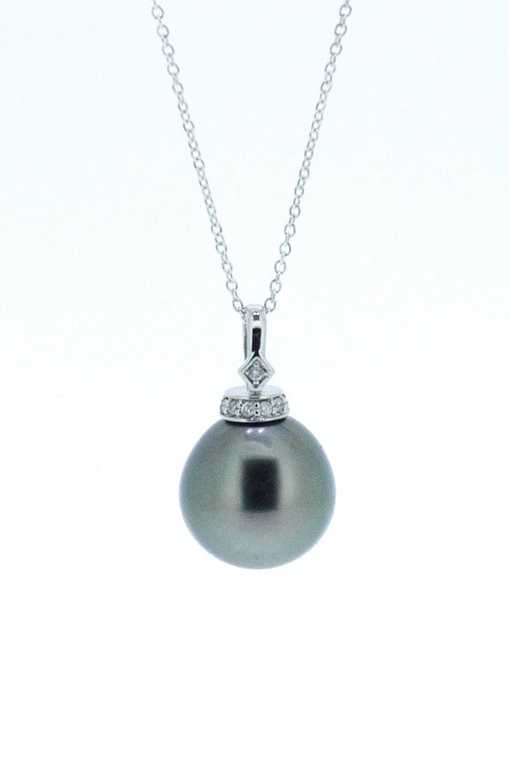 Off-Round Tahitian Pearl and Diamond Pendant